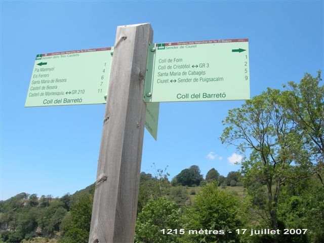 Coll del Barreto - ES-GI-1215 (Panneau)