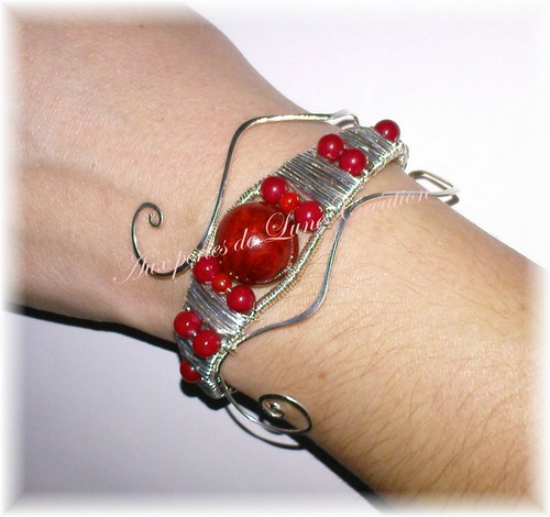"""Bracelet """"Aphrodite"""" Argent et Corail 091103085605856374780072"""