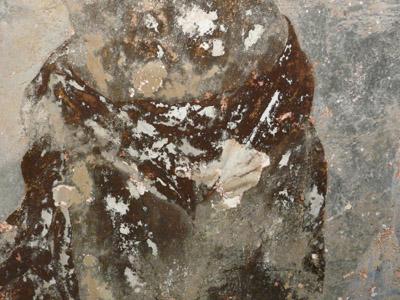 Peinture murale à la colle, consolidation couche picturale, décrassage . (sous-couche) 091113061900894654852539